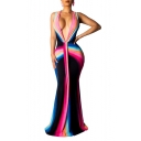 Women's Hot Fashion Plunge Neck Sleeveless Colorblock Printed Bodycon Maxi Dress