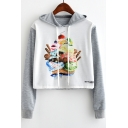 Cartoon Cake Printed Colorblock Long Sleeve Drawstring Hoodie