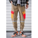 Mens Simple Letter HIPHOP Tape Patched Colorblock Pocket Drawstring Waist Cotton Loose Cargo Pants