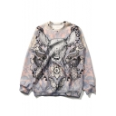 New Trendy Sika Deer Printed Basic Round Neck Long Sleeve Purple Sweatshirt