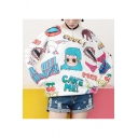 Girls Cute Cartoon Comic Figure Letter COOL CAKE ME Print Basic Round Neck Pullover Sweatshirt