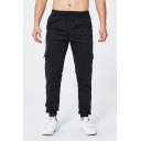 Men's Cotton Fashion Solid Color Flap Pocket Side Drawstring Waist Sport Pants
