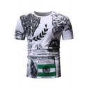 Mens Fashion Pattern Basic Round Neck Short Sleeve Fitted T-Shirt