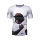 Cool Male Figure Printed Short Sleeve Round Neck Slim Fitted White Tee