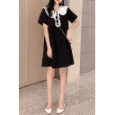 Girls Sweet Ruffled Peter-Pan Collar Pearl-Button Embellished Short Sleeve Black Mini A-Line Dress