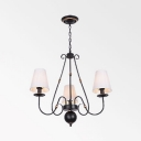 Fabric Tapered Chandelier 3/4/6 Lights Classic Style Hanging Light in Black for Living Room