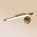 Antique Brass Tube Wall Light 14/18/23 Inch Waterproof Rotatable LED Vanity Light for Bedroom
