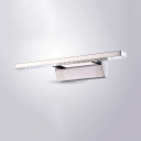 Modern Chrome LED Sconce Lamp Linear 16/21.5 Inch Stainless Steel Wall Light in Warm/White for Bathroom