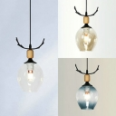 Globe Child Bedroom Ceiling Lamp Amber/Clear/Smoke Gray Glass 1 Light Simple Style Pendant Light with Antlers