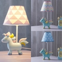 Unicorn Boy Bedroom Reading Light Dimmable Resin 1 Light Cute LED Desk Lamp in Blue