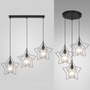 Metal Star Wire Frame Ceiling Light Dining Room 3 Lights Vintage Linear/Round Canopy Pendant Lamp in Black