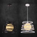 Linen Orb Suspension Light 1 Light Vintage Pendant Lamp with Spiral Shade in Black/White for Shop