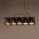 5 Lights Cylinder Island Pendant with Metal Cage Industrial Fabric Island Light in Black for Bar