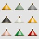 Macaron Loft Cone Hanging Light 1 Light Metal Multi Color Choice Suspension Light for Restaurant