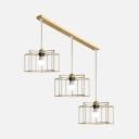 3 Lights Wire Frame Island Lighting Industrial Metal Hanging Light in Gold for Dining Room