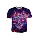 Purple Galaxy Wolf Head Printed Short Sleeve Round Neck Casual T-Shirt