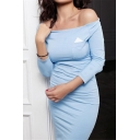 Womens Summer New Stylish Simple Plain Sexy Off the Shoulder Three-Quarter Sleeve Midi Sheath Dress