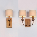Rustic Style Bronze Sconce Lamp Cylinder Shade 1/2 Lights Metal Fabric Wall Light for Hallway