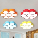 Flower Kindergarten Ceiling Mount Light Acrylic Modern Ceiling Fixture in Blue/Red/Orange/Yellow