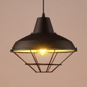Aluminum Barn Shade Pendant Light with Cage 1 Light Industrial Hanging Light in Black for Workshop