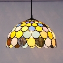 Colorful Small Dots Pendant Lamp 1 Light Tiffany Style Glass Ceiling Light for Restaurant