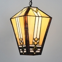 Vintage Style Lantern Pendant Light 1 Head Glass Hanging Light in Beige for Hallway Kitchen