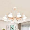 White Bell Shade Chandelier 3/5/8 Lights Nordic Style Metal Hanging Light for Nursing Room