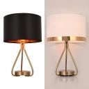 Fabric Drum Shade Desk Lighting 1 Light Traditional Study Light in Black/White for Bedroom