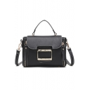 Stylish Plain Double Zipper Side Belt Buckle Design Satchel Shoulder Bag 22*7*15 CM