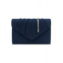 Simple Fashion Solid Color Ruffled Detail Envelope Clutch Bag with Chain Strap 22*14*5.5 CM