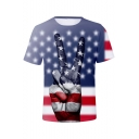 Independence Day Star Striped Flag Finger Print Short Sleeve Unisex Tee