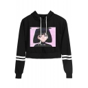 Hot Fashion Vaporwave Comic Girl Print Striped Long Sleeve Cropped Hoodie