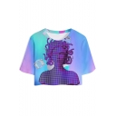 Fashionable Vaporwave Cool 3D Printed Round Neck Short Sleeve Cropped Sport T-Shirt