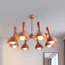 Brown/Green Curved Pendant Lamp 3/6/8 Lights Macaron Loft Metal Chandelier for Living Room