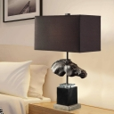 Contemporary Black Table Lamp Rectangle 1 Light Fabric Desk Light with Horse Head for Hotel