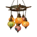 Stained Glass Lantern Chandelier Dining Table 7 Lights Moroccan Vintage Pendant Light in Age Brass
