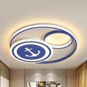 Boys Bedroom Anchor LED Flushmount Light Acrylic Nautical Stepless Dimming/Third Gear/White Lighting Ceiling Lamp