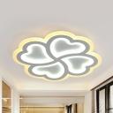 Creative 4 Hearts Ceiling Mount Light Acrylic White 3 Modes for Option LED Flush Light for Foyer