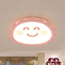 Smiling Sun LED Flush Ceiling Light Kids Candy Colored Ceiling Lamp with Third Gear/White Lighting for Bedroom