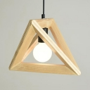 Single Light Triangle Pendant Light Contemporary Wood Hanging Light in Beige for Dining Table