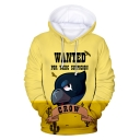 Funny Letter WANTED Cartoon Comic Crow Printed Long Sleeve Unisex Yellow Hoodie