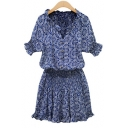 Summer Chic Blue Floral Pattern V-Neck Short Sleeve Button Front Mini Cotton Dress
