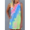 Girls Summer Cool Tie Dye Round Neck Sleeveless Mini Tank Dress