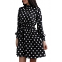 New Trendy Polka Dot Leopard Pattern Long Sleeve Stand Collar Mini A-Line Dress