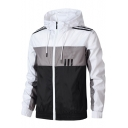 New Stylish Guys Colorblocked Stripe Printed Long Sleeve Zip Placket Sport Casual Running Hooded Track Jacket