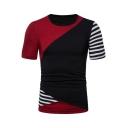 Mens New Trendy Striped Color Block Basic Round Neck Short Sleeve Slim Fit T-Shirt