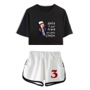 Funny Comic Character Pattern Short Sleeve Cropped Tee with Dolphin Shorts Sport Two-Piece Set