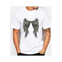 Basic Round Neck Short Sleeve Wing Pattern Casual Relaxed White Tee