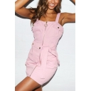 Summer Hot Fashion Simple Plain Pink Zipper Front Sleeveless Tied Waist Mini Pinafore Dress