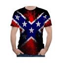 American Eagle Flag Pattern Round Neck Short Sleeve Popular Black T-Shirt for Men